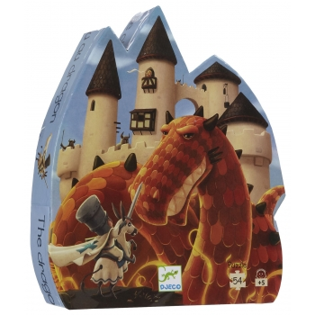 Silhouette puzzle - The dragon's castle - 54 pcs