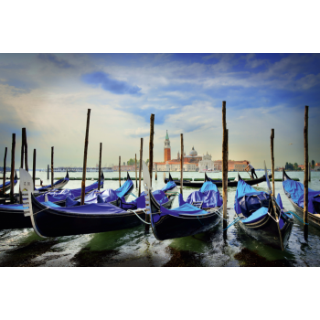Pusle Gondolas at St. Marc's Square, Venice, 1000