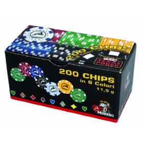 Set 200 chips 11.5g, 6 colors